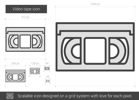 Video tape vector line icon isolated on white background. Video tape line icon for infographic, website or app. Scalable icon designed on a grid system. 向量圖像