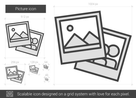 scalable: Picture vector line icon isolated on white background. Picture line icon for infographic, website or app. Scalable icon designed on a grid system.