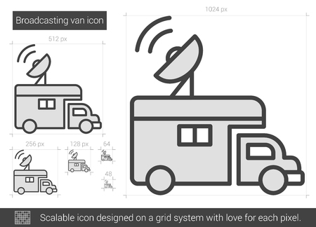 scalable: Broadcasting van vector line icon isolated on white background. Broadcasting van line icon for infographic, website or app. Scalable icon designed on a grid system. Illustration