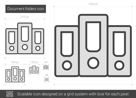 scalable: Document folders vector line icon isolated on white background. Document folders line icon for infographic, website or app. Scalable icon designed on a grid system. Illustration