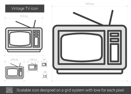scalable: Vintage TV vector line icon isolated on white background. Vintage TV line icon for infographic, website or app. Scalable icon designed on a grid system.