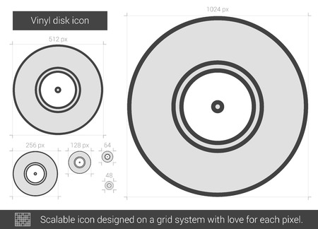 soundtrack: Vinyl disk vector line icon isolated on white background. Vinyl disk line icon for infographic, website or app. Scalable icon designed on a grid system.