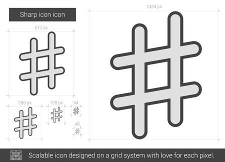 scalable: Sharp vector line icon isolated on white background. Sharp line icon for infographic, website or app. Scalable icon designed on a grid system.