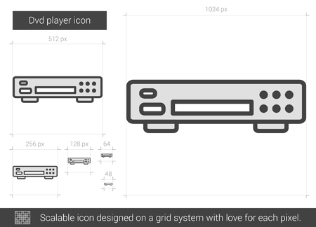 videocassette: reproductores de DVD del icono de la línea vector aislado en el fondo blanco. Dvd reproductor icono de la línea de infografía, sitio web o aplicación. icono escalable diseñada en un sistema de red.