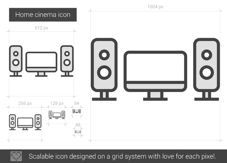 Home cinema vector line icon isolated on white background. Home cinema line icon for infographic, website or app. Scalable icon designed on a grid system. Illustration