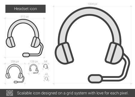 scalable: Headset vector line icon isolated on white background. Headset line icon for infographic, website or app. Scalable icon designed on a grid system.