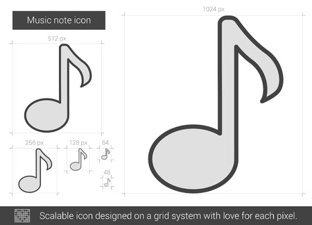 melodies: Music note vector line icon isolated on white background. Music note line icon for infographic, website or app. Scalable icon designed on a grid system.