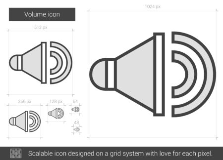 scalable: Volume vector line icon isolated on white background. Volume line icon for infographic, website or app. Scalable icon designed on a grid system.