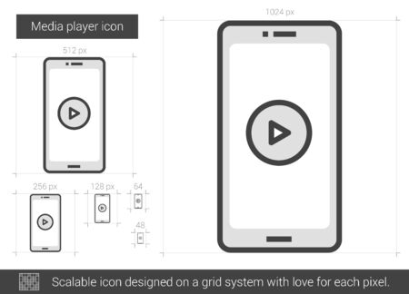 media gadget: Media player vector line icon isolated on white background. Media player line icon for infographic, website or app. Scalable icon designed on a grid system.