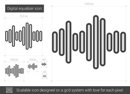 analyzer: Digital equalizer vector line icon isolated on white background. Digital equalizer line icon for infographic, website or app. Scalable icon designed on a grid system.