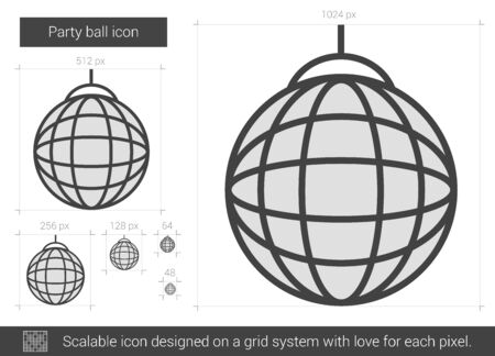 mirrorball: Party ball vector line icon isolated on white background. Party ball line icon for infographic, website or app. Scalable icon designed on a grid system.