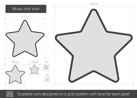 Music star vector line icon isolated on white background. Music star line icon for infographic, website or app. Scalable icon designed on a grid system. Illustration