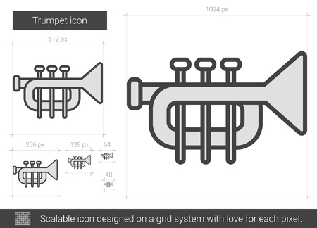 symphonic: Trumpet vector line icon isolated on white background. Trumpet line icon for infographic, website or app. Scalable icon designed on a grid system.
