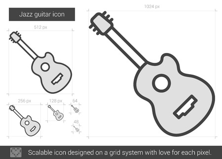 scalable: Jazz guitar vector line icon isolated on white background. Jazz guitar line icon for infographic, website or app. Scalable icon designed on a grid system.