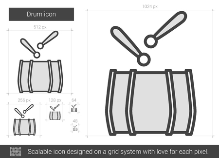 Drum Vector Line Icon Isolated On White Background For Infographic Website
