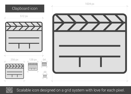 clapboard: Clapboard vector line icon isolated on white background. Clapboard line icon for infographic, website or app. Scalable icon designed on a grid system. Illustration