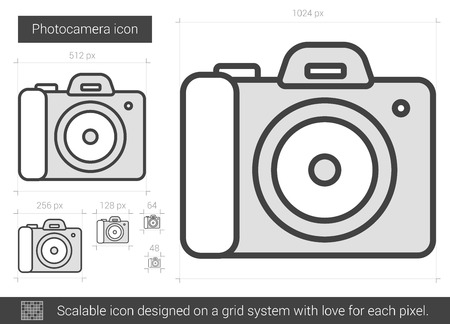 media gadget: Photocamera vector line icon isolated on white background. Photocamera line icon for infographic, website or app. Scalable icon designed on a grid system.