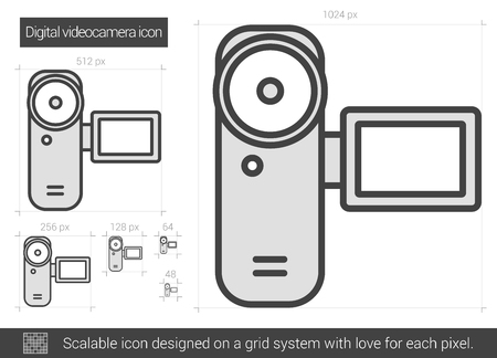videocamera: Digital videocamera vector line icon isolated on white background. Digital videocamera line icon for infographic, website or app. Scalable icon designed on a grid system. Illustration