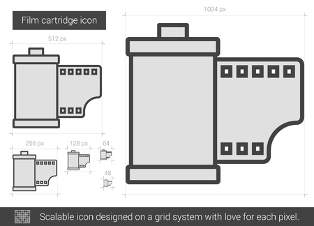 cartridge: Film cartridge vector line icon isolated on white background. Film cartridge line icon for infographic, website or app. Scalable icon designed on a grid system.