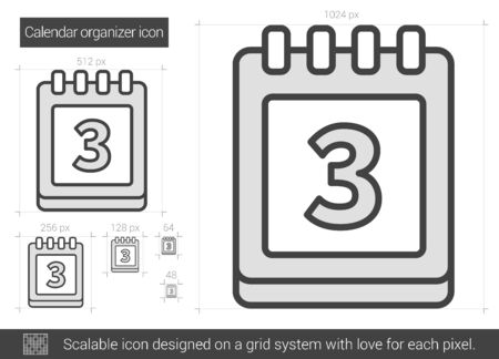 calendar page: Calendar organizer vector line icon isolated on white background. Calendar organizer line icon for infographic, website or app. Scalable icon designed on a grid system.