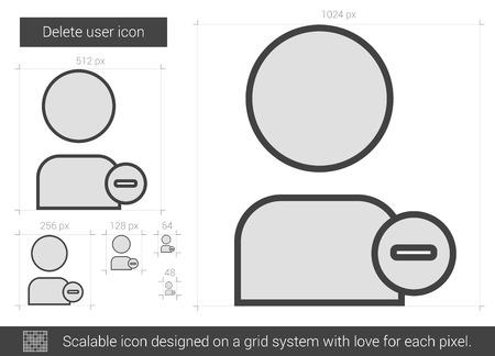 Borrar usuario icono de la línea vector aislado en el fondo blanco. Eliminar icono de línea de usuario para la infografía, sitio web o aplicación. icono escalable diseñada en un sistema de red. Foto de archivo - 62954281