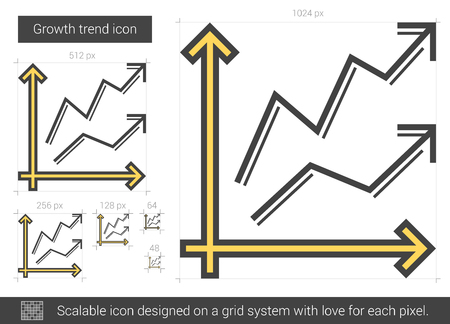 Growth trend vector line icon isolated on white background. Growth trend line icon for infographic, website or app. Scalable icon designed on a grid system. Illustration