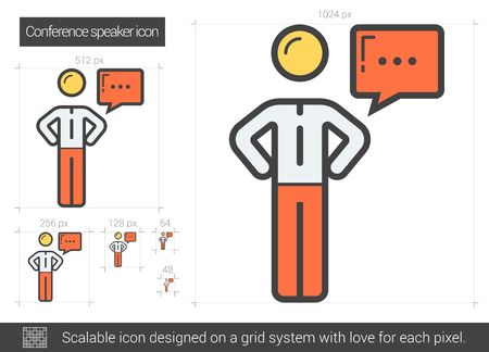 conference speaker: Conference speaker vector line icon isolated on white background. Conference speaker line icon for infographic, website or app. Scalable icon designed on a grid system. Illustration