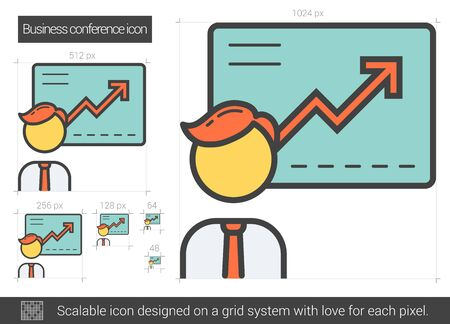 scalable: Business conference vector line icon isolated on white background. Business conference line icon for infographic, website or app. Scalable icon designed on a grid system. Illustration