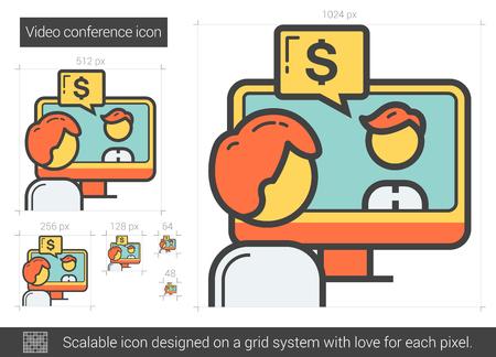 Videokonferenz-Vektor-Linie-Symbol auf weißem Hintergrund. Videokonferenzleitung Symbol für Infografik, die Website oder App. Scalable-Symbol auf einem Grid-System konzipiert.