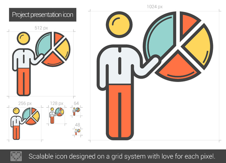 manager: Project presentation vector line icon isolated on white background. Project presentation line icon for infographic, website or app. Scalable icon designed on a grid system. Illustration