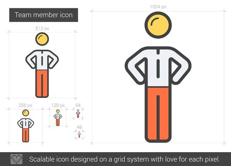 scalable: Team member vector line icon isolated on white background. Team member line icon for infographic, website or app. Scalable icon designed on a grid system. Illustration