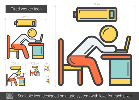 tired worker: Tired worker vector line icon isolated on white background. Tired worker line icon for infographic, website or app. Scalable icon designed on a grid system. Illustration