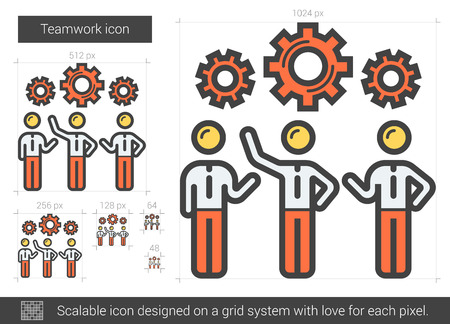 scalable: Teamwork vector line icon isolated on white background. Teamwork line icon for infographic, website or app. Scalable icon designed on a grid system. Illustration