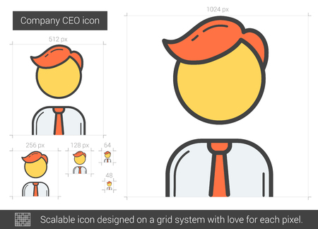ceo: Company CEO vector line icon isolated on white background. Company CEO line icon for infographic, website or app. Scalable icon designed on a grid system.