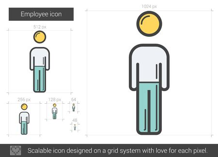 Employee vector line icon isolated on white background. Employee line icon for infographic, website or app. Scalable icon designed on a grid system. Çizim