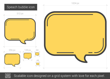 Speach bubble vector line icon isolated on white background. Speach bubble line icon for infographic, website or app. Scalable icon designed on a grid system. Ilustração