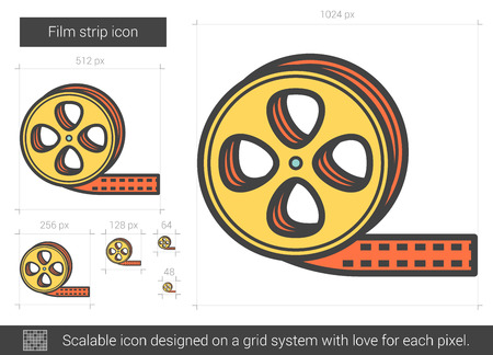 scalable: Film strip vector line icon isolated on white background. Film strip line icon for infographic, website or app. Scalable icon designed on a grid system. Illustration
