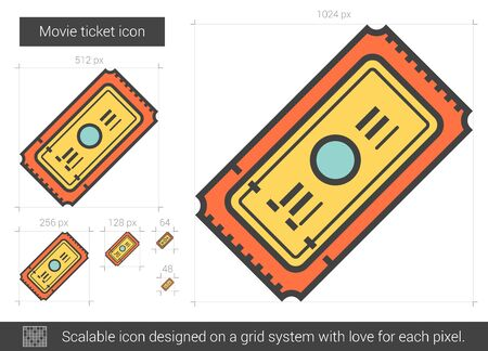 Movie ticket vector line icon isolated on white background. Movie ticket line icon for infographic, website or app. Scalable icon designed on a grid system.