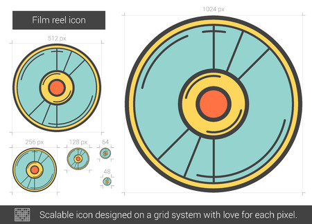 scalable: Film reel vector line icon isolated on white background. Film reel line icon for infographic, website or app. Scalable icon designed on a grid system.