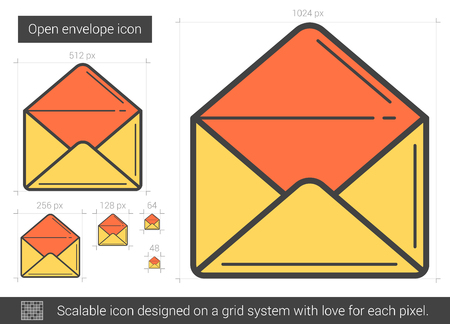 scalable: Open envelope vector line icon isolated on white background. Open envelope line icon for infographic, website or app. Scalable icon designed on a grid system. Illustration