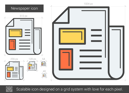 tabloid: Newspaper vector line icon isolated on white background. Newspaper line icon for infographic, website or app. Scalable icon designed on a grid system. Illustration