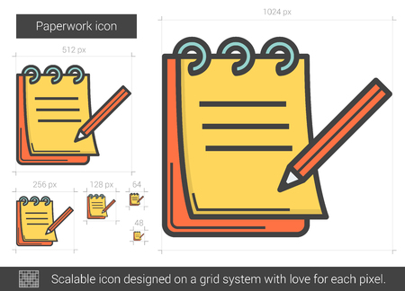 paperwork: Paperwork vector line icon isolated on white background. Paperwork line icon for infographic, website or app. Scalable icon designed on a grid system.