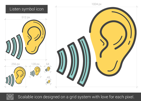 oscillation: Listen symbol vector line icon isolated on white background. Listen symbol line icon for infographic, website or app. Scalable icon designed on a grid system.