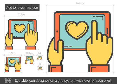 preference: Add to favourites vector line icon isolated on white background. Add to favourites line icon for infographic, website or app. Scalable icon designed on a grid system.