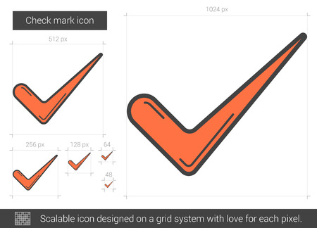 Check mark vector line icon isolated on white background. Check mark line icon for infographic, website or app. Scalable icon designed on a grid system.