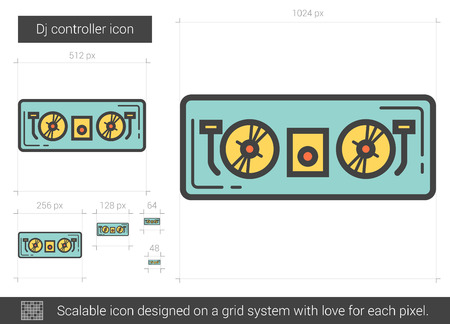 remix: Dj controller vector line icon isolated on white background. Dj controller line icon for infographic, website or app. Scalable icon designed on a grid system.