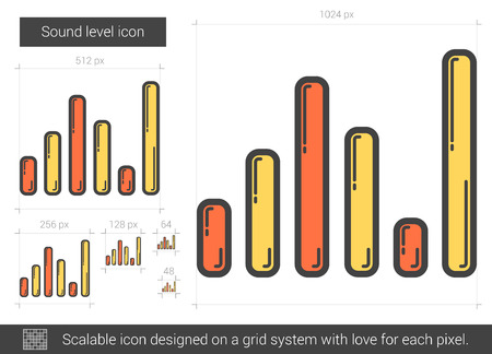 analyzer: Sound level vector line icon isolated on white background. Sound level line icon for infographic, website or app. Scalable icon designed on a grid system. Illustration