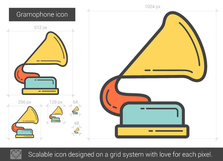 Gramophone vector line icon isolated on white background. Gramophone line icon for infographic, website or app. Scalable icon designed on a grid system. Illustration