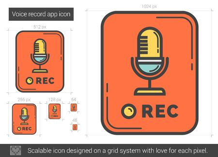 Voice record app vector line icon isolated on white background. Voice record app line icon for infographic, website or app. Scalable icon designed on a grid system. Vettoriali