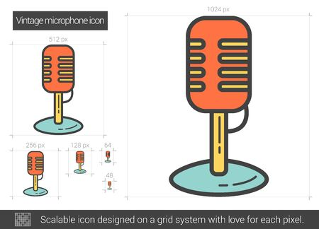 scalable: Vintage microphone vector line icon isolated on white background. Vintage microphone line icon for infographic, website or app. Scalable icon designed on a grid system. Illustration